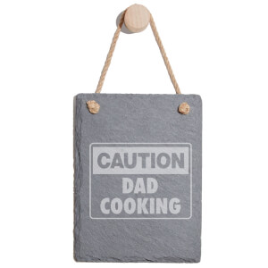 Caution Dad Cooking Engraved Slate Memo Board - Portrait