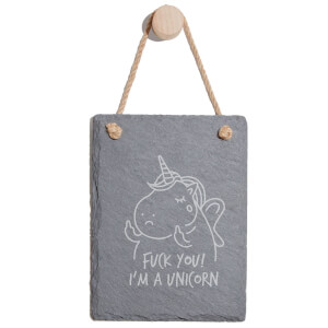 Fuck You! I'm A Unicorn Engraved Slate Memo Board - Portrait