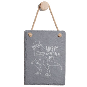 Happy St. Pat-Rex Day Engraved Slate Memo Board - Portrait