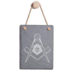 Illuminati Free Mason Symbol Engraved Slate Memo Board - Portrait