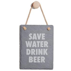 Save Water Drink Beer Engraved Slate Memo Board - Portrait