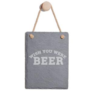 Wish You Were Beer Engraved Slate Memo Board - Portrait