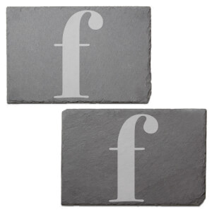 Lowercase F Engraved Slate Placemat - Set of 2