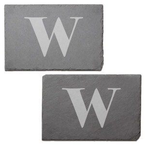 Lowercase W Engraved Slate Placemat - Set of 2