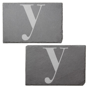 Lowercase Y Engraved Slate Placemat - Set of 2
