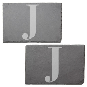 Uppercase J Engraved Slate Placemat - Set of 2