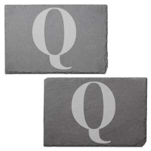 Uppercase Q Engraved Slate Placemat - Set of 2
