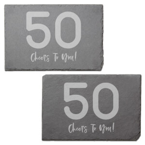 50 Cheers To You! Engraved Slate Placemat - Set of 2