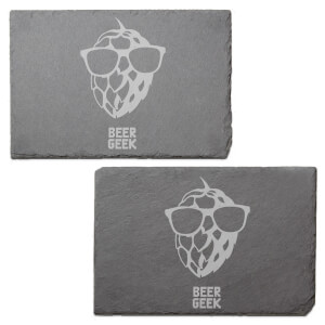 Beer Geek Engraved Slate Placemat - Set of 2