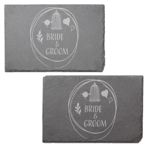 Bride & Groom Engraved Slate Placemat - Set of 2