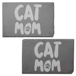 Cat Mom Engraved Slate Placemat - Set of 2