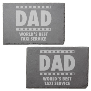 Dad World's Best Service Taxi Service Engraved Slate Placemat - Set of 2
