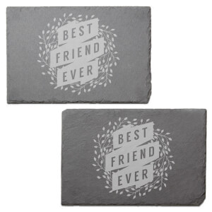 Floral Best Friend Ever Engraved Slate Placemat - Set of 2