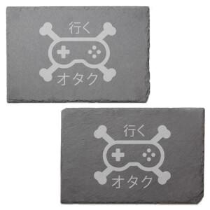 Gamer Cross Bones Engraved Slate Placemat - Set of 2
