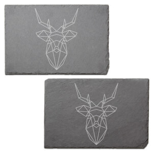Geometric Stag Engraved Slate Placemat - Set of 2