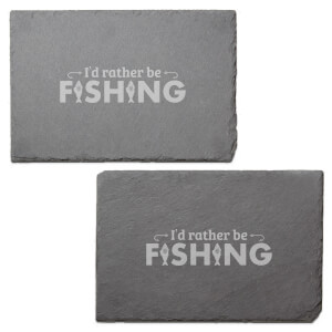 I'd Rather Be Fishing Engraved Slate Placemat - Set of 2