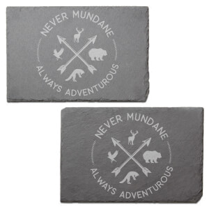 Never Mundane Always Adventurous Engraved Slate Placemat - Set of 2