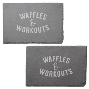 Waffles & Workouts Engraved Slate Placemat - Set of 2