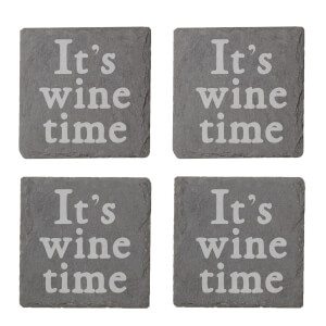 It's Wine Time Engraved Slate Coaster Set