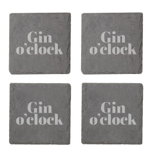 Gin O'Clock Engraved Slate Coaster Set