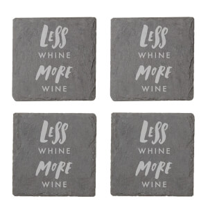 Less Whine More Wine Engraved Slate Coaster Set