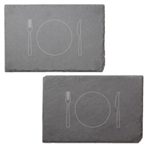 Knife And Fork Engraved Slate Placemat - Set of 2