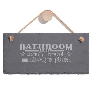 Bathroom Wash Brush Always Flush Engraved Slate Hanging Sign