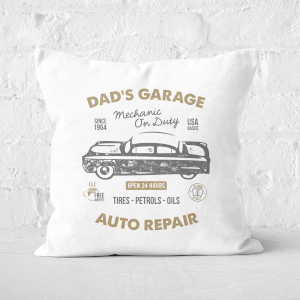 Dad's Garage Square Cushion
