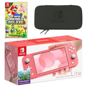 Nintendo Switch Lite (Coral) New Super Mario Bros. U Deluxe Pack