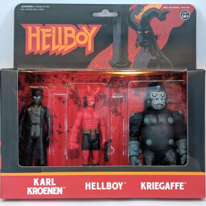 Super7 Hellboy ReAction Figure - Pack A (Hellboy with Horns, Karl Kroenen, Kriegaffe Ape) Action Figure