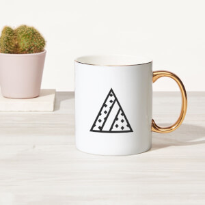 Stylised Letter Bone China Gold Handle Mug