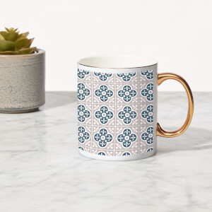 Clover Tile Bone China Gold Handle Mug