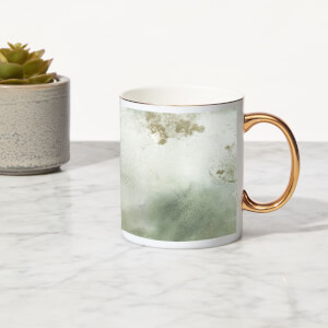 Marble Bone China Gold Handle Mug