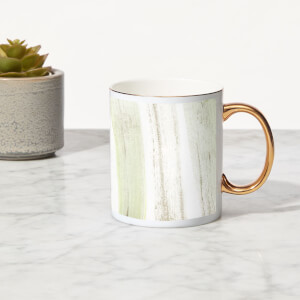 Brush Stripes Bone China Gold Handle Mug