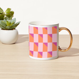 3D Check Bone China Gold Handle Mug