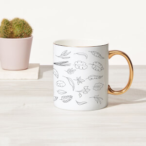 Line Leaves Bone China Gold Handle Mug