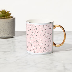 Small Flowers Bone China Gold Handle Mug