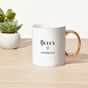Queen Of Awesomeness Bone China Gold Handle Mug