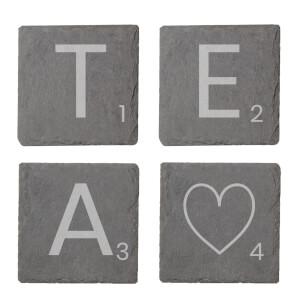 Tea Engraved Slate Coaster Set