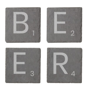 Beer Engraved Slate Coaster Set