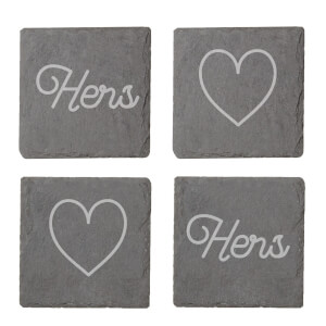 Hers And Hers Engraved Slate Coaster Set