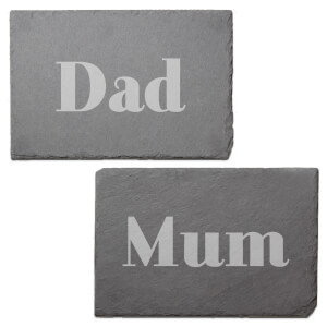 Mum And Dad Engraved Slate Placemat - Set of 2