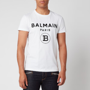 Balmain Men's Flock Logo T-Shirt - White/Black