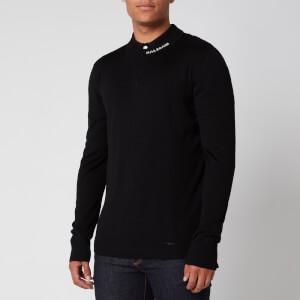 Balmain Men's Merino Wool Collar Logo Jumper - Black