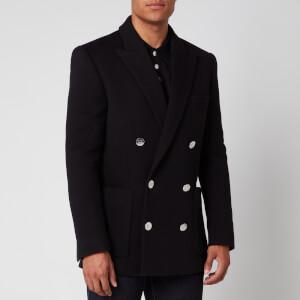 Balmain Men's Double Breasted Fleece Blazer - Black