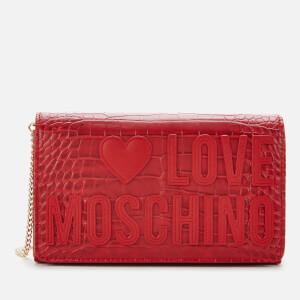 Love Moschino Women's Croc Print Logo Bag - Red