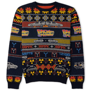 Back to the Future Festive Knitted Jumper - Navy from I Want One Of Those