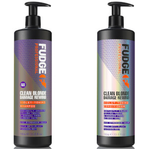 Fudge Professional Clean Blonde Damage Rewind Violet-Toning Shampoo and Conditioner Bundle 1L