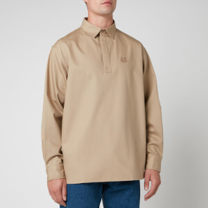 KENZO Men's Tiger Crest Long Sleeve Polo Shirt - Dark Beige