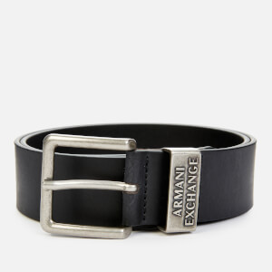 Armani Exchange Men's Metal Keeper Belt - Black